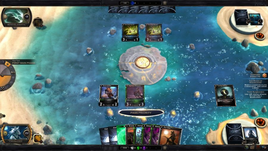 A card battle takes place on a sandy beach in Hex, one of the best free PC games