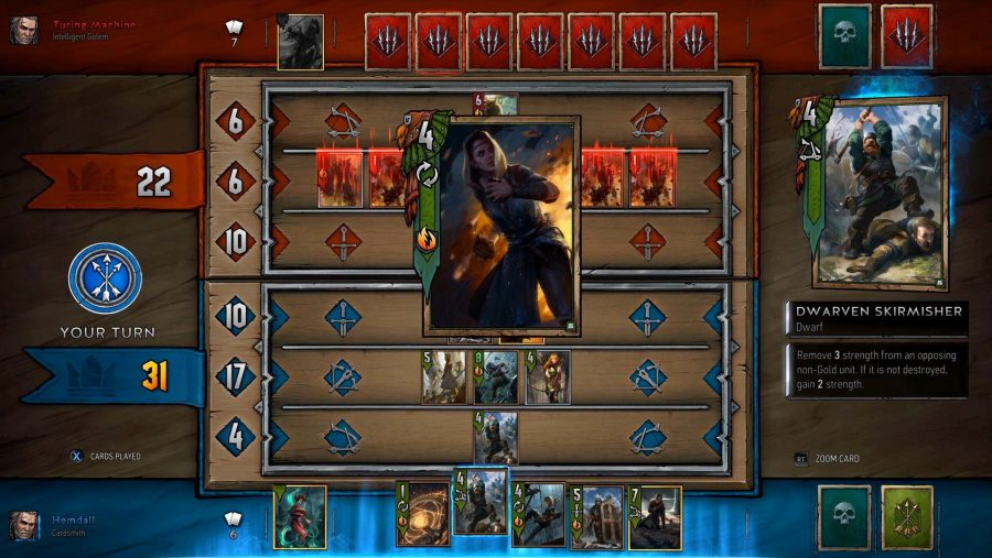 A card is played in Gwent, one of the best free PC games