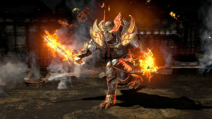 A kitted out character with a flaming sword in one of the best free PC games, Path of Exile