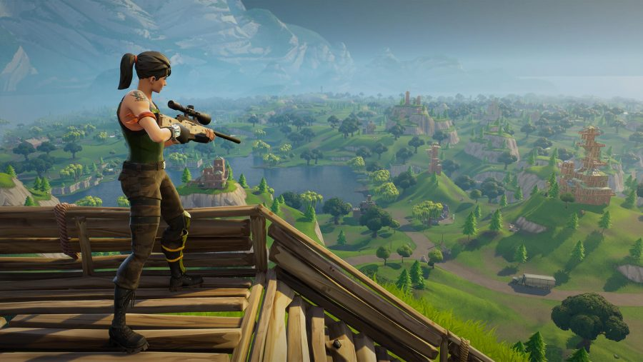 A player with a sniper rifle looks down upon the map in Fortnite, one of the best free PC games. It's also, still, one of the most popular games in the world.