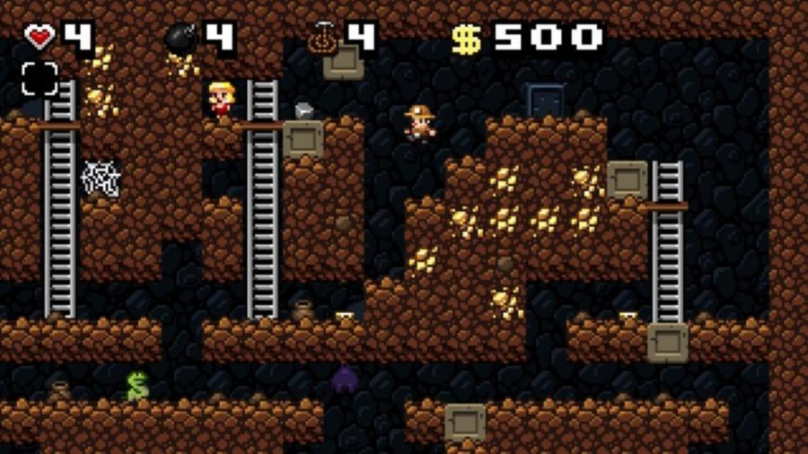 A procedurally generated cave in Spelunky, one of the best free PC games. It looks much more pixelated than the paid-for versions, but is still rather good.