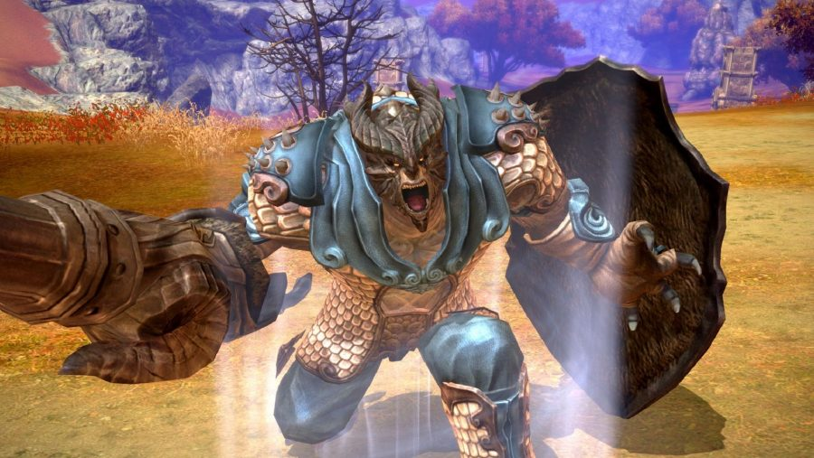 A roaring, scaled character in TERA, one of the best free games on PC