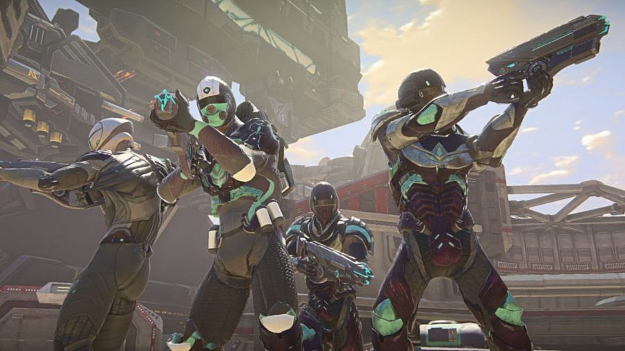 A squad of four teammates ready for battle in Planetside 2, one of the best free PC games