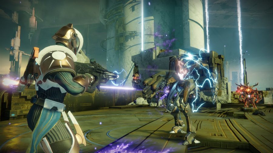 Destiny 2 is another one of the best free PC games, which has regular expansions. The player is shooting mechanical goblins with their electrified rifle.