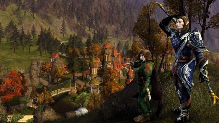 Elves on a hill over a city in Lord of the Rings Online, one of the best free PC games.