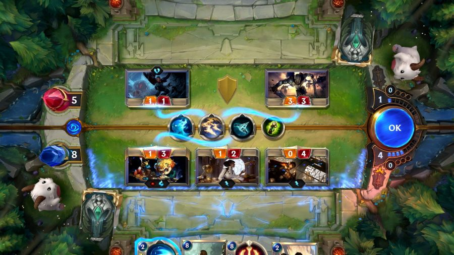 Legends of Runeterra is a collectible card game, much like Magic the Gathering, and is one of the best free PC games. The screenshot show combat in motion.