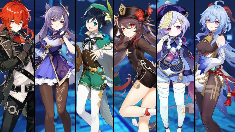 Line-up of Genshin Impact SS+ tier characters