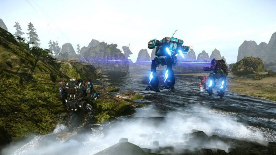 Mechs levitating over a river in Mechwarrior Online, one of the best free PC games