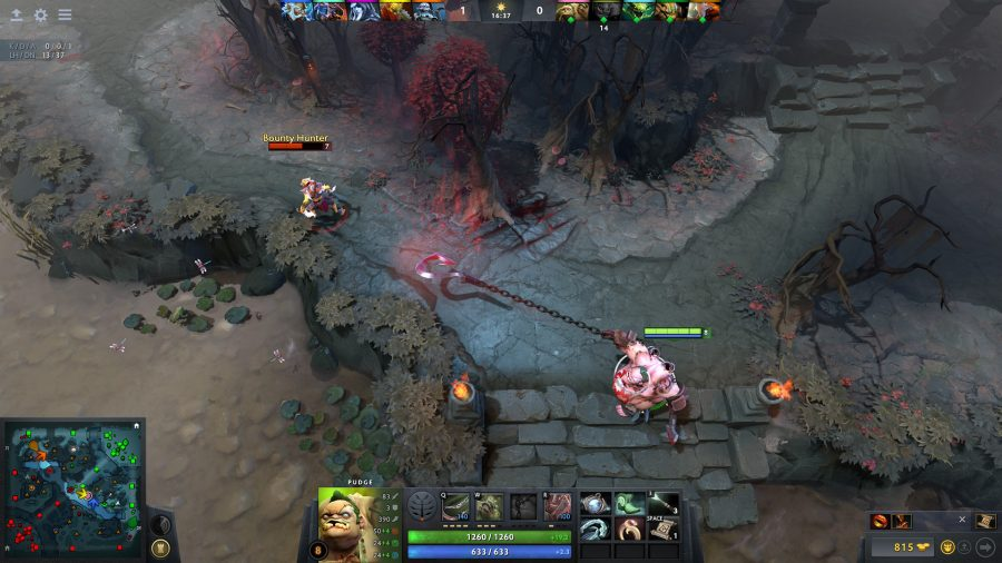 Pudge throws a hook at Bounty Hunter in one of the best free PC games, Dota 2