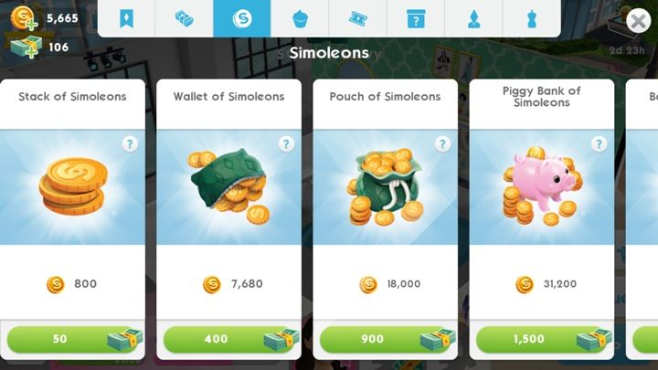 Simoleons can also be exchanged for simcash, which is however not economically viable - the latter is much harder to obtain - The money | Money and tickets - Money and tickets - The Sims Mobile Game Guide