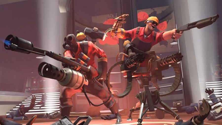 The pyro and the engineer mowing down foes in Team Fortress 2, one of the best free pc games. Neither of them are wearing hats, which is disappointing, but they look like they're having fun.