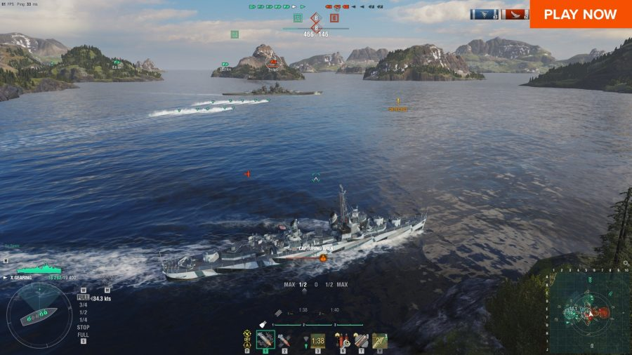World of Warships, one of the best free PC games, has you take the wheel of battleships and blowing up the enemy naval force.